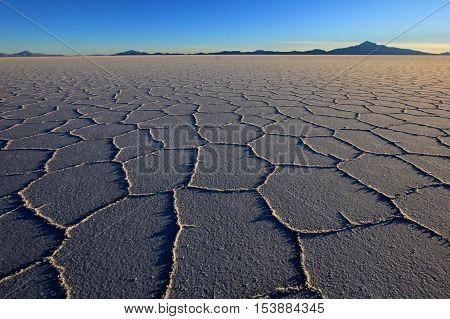 Salar de Uyuni, salt lake, is largest salt flat in the world, altiplano, Bolivia, South America, sunset