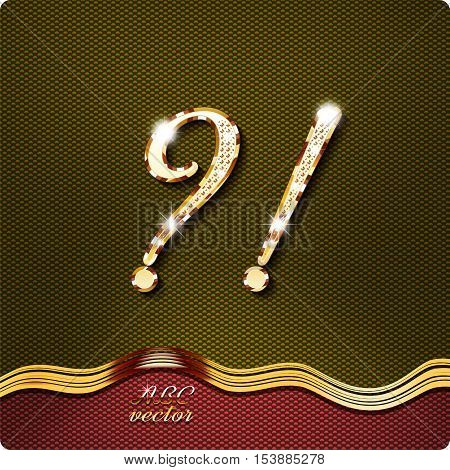 This stylish gold cursive letters. There are inlaid with Question mark and exclamation mark.They have shadows and highlights.
