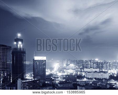 A bird's eye view of a modern city.
