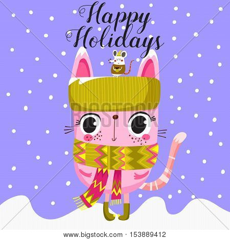 Awesome Happy Holidays Card In Vector. Stylish Holiday Card With Cute Cat And Mouse In Vector.winter