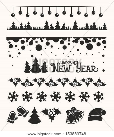 Christmas Design Elements - Symbols, Icons, Ornaments, Greetings, Snowflakes, Bells, Holly Berry, Ch