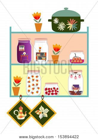 Cute kitchen shelves. Jars with sweet jam and dreams of cozy home, flowers in pot, pan and potholders. Vector illustration. Memories of summer.