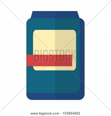 Blue plastic bank with white-red label. Plastic bank icon. Retail store element. Bank object. Bank food sign. Simple drawing. Isolated vector illustration on white background.