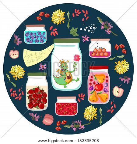 My inner dragon. Cute cartoon illustration with different jars with canned fruit jams, vegetables and berries and cheerful little dino. Decorative round plate. Vector drawing for kids.
