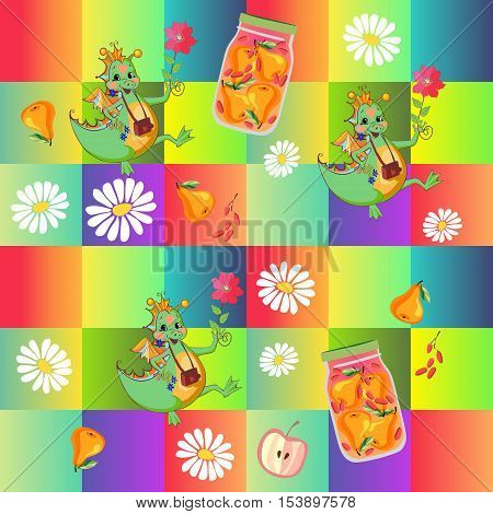 Beautiful childish patchwork pattern with cute cartoon dino, chamomile flowers, jar of pear compote and fruits on background of colored squares. Vector illustration. Print for fabric.