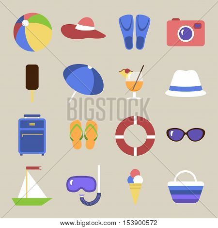 Set of icons. Beach theme. Flat travel objects. Umbrella ball beach wallet cocktail diving mask tube lifebuoy shale suitcase camera hat boat fins goggles popsicle ice cream beach bag collection. Vector illustration. Grouped for easy editing.