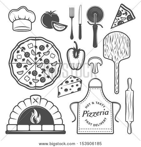 Pizzeria monochrome elements set with cooked product and vegetables uniform of chef culinary utensils isolated vector illustration
