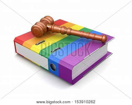 3D Illustration. Color folder and wooden mallet. Image with clipping path