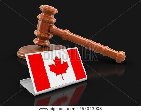 3D Illustration. 3d wooden mallet and Canada flag. Image with clipping path