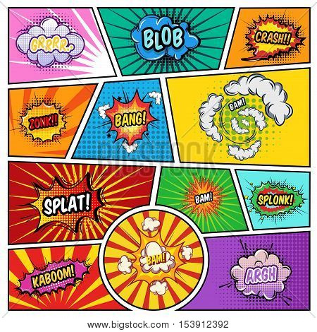 Noise effects comics page with speech bubbles of various shape on textured split lines background vector illustration