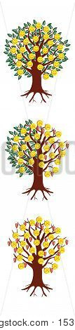 Emoticon emoji set. Trees with emoticons. Trendy Bookmark Stickers Character Design vector illustration.