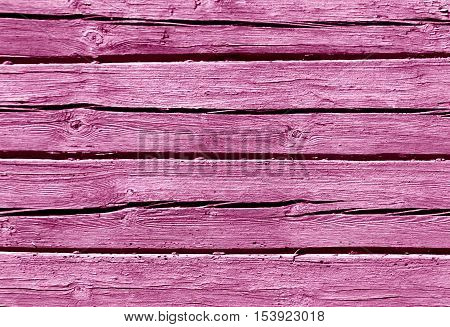 Pink Color Log House Wall.