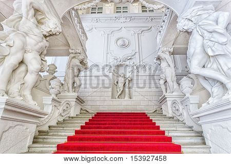 Grand Staircase  Of Winter Palace Of Prince Eugene Savoy In Vienna.
