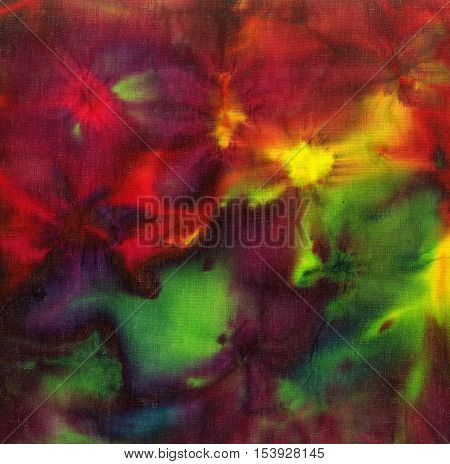 Tie dye pattern abstract background. Vine red and bright green