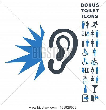 Listen Loud Sound icon and bonus male and woman lavatory symbols. Vector illustration style is flat iconic bicolor symbols, smooth blue colors, white background.