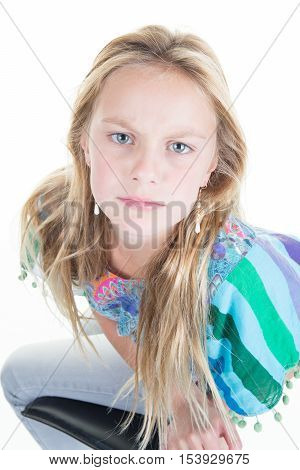 Unhappy Young Blond Woman S Looking Offended, Childish And Frustrated,