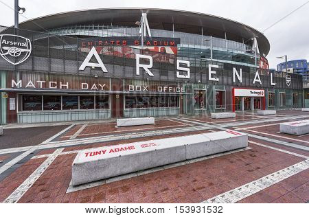 London, the UK - May 2016: Vie on the Emirates Arena - the  official playground of FC Arsenal