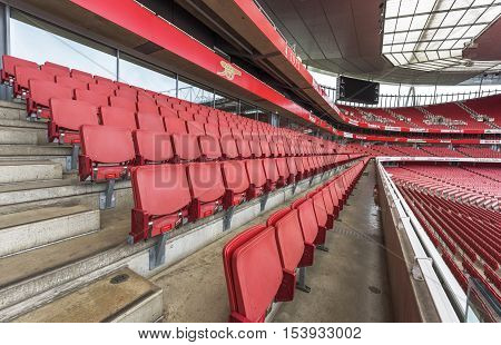 London, the UK - May 2016: Visiting the Emirates stadium - the  official arena of FC Arsenal