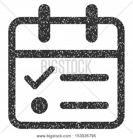 Day Tasklist grainy textured icon for overlay watermark stamps. Flat symbol with dust texture. Dotted vector gray ink rubber seal stamp with grunge design on a white background.