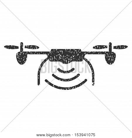 Radio Transmitter Airdrone grainy textured icon for overlay watermark stamps. Flat symbol with unclean texture. Dotted vector gray ink rubber seal stamp with grunge design on a white background.