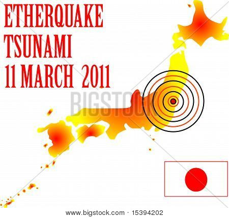Japan map with danger on atomic power station
