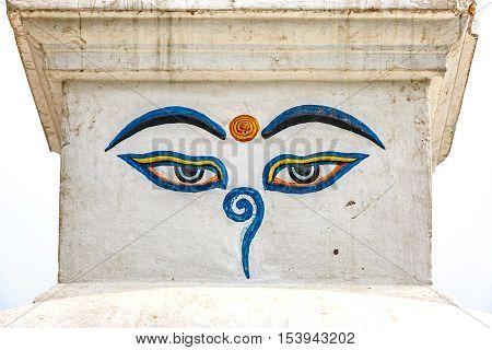 The eyes of Buddha symbol of buddhism