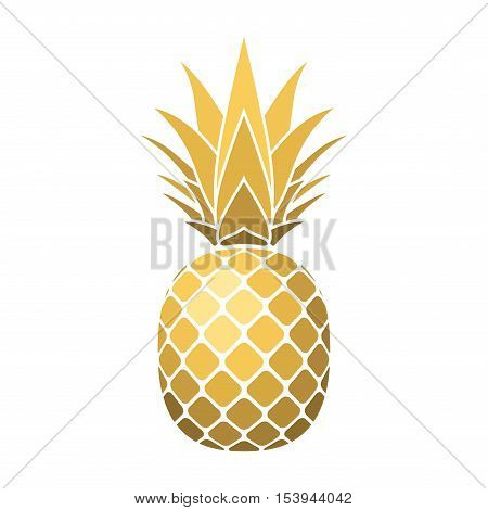 Pineapple gold icon. Tropical fruit isolated on white background. Symbol of food sweet exotic and summer vitamin healthy. Nature logo. 3D concept. Design element Vector illustration