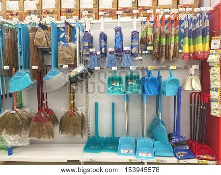 CHIANG RAI THAILAND - OCTOBER 28 : various brand of cleaning equipment for sale on supermarket stand or shelf in Big C Supercenter on October 28 2016 in Chiang rai Thailand.