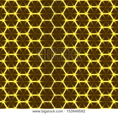 Honeycomb seamless pattern. Vector geometric background, luminous style