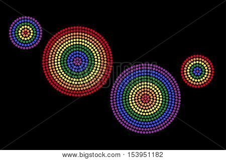Gay radial dot patterns. Dots forming four circles with the six colors of the rainbow flag that is used for the Lesbian, gay, bisexual and transgender movement. Illustration on black background.