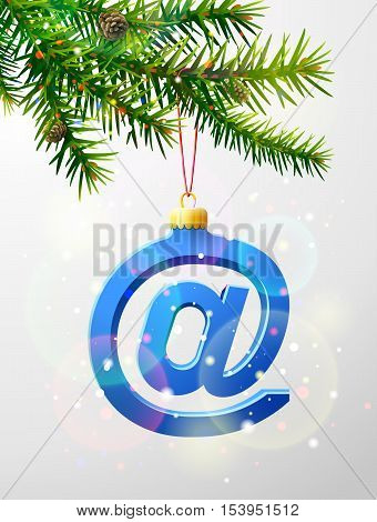 Christmas tree branch with decorative email symbol. Mail sign as christmas bauble hanging on pine twig. Vector image for christmas internet new years day email winter holiday decoration etc