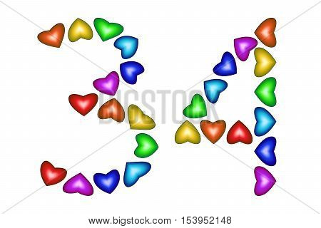 Number 34 of colorful hearts on white. Symbol for happy birthday event invitation greeting card award ceremony. Holiday anniversary sign. Multicolored icon. Thirty four in rainbow colors. Vector