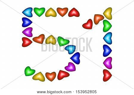 Number 51 of colorful hearts on white. Symbol for happy birthday event invitation greeting card award ceremony. Holiday anniversary sign. Multicolored icon. Fifty one in rainbow colors. Vector