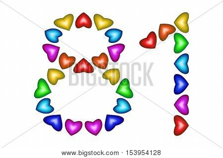 Number 81 of colorful hearts on white. Symbol for happy birthday event invitation greeting card award ceremony. Holiday anniversary sign. Multicolored icon. Eighty one in rainbow colors. Vector