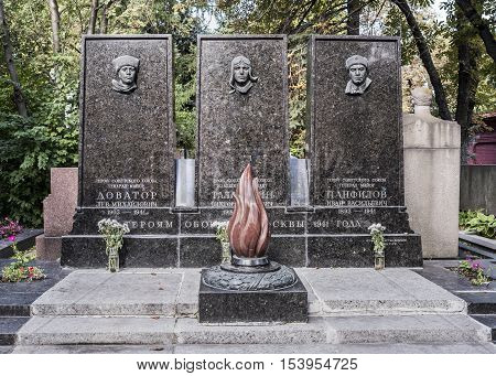 Moscow Russia -September 102016: Novodevichye Cemetery.Grave to the heroes of the defense of Moscow in 1941: Major General Panfilov and Dovator lieutenant Talalikhin