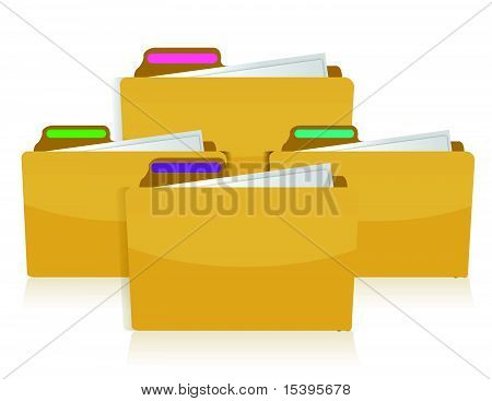 folders with colorful tags isolated over a white background.