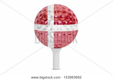 golf ball on a tee with flag of Denmark 3D rendering isolated on white background