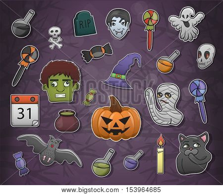 Vector cartoon decoration stickers of Halloween. Doodle vintage illustration of autumn holiday. Set of Halloween emotions with pumpkin, vampire, potions, zombie, ghost and skeleton characters.