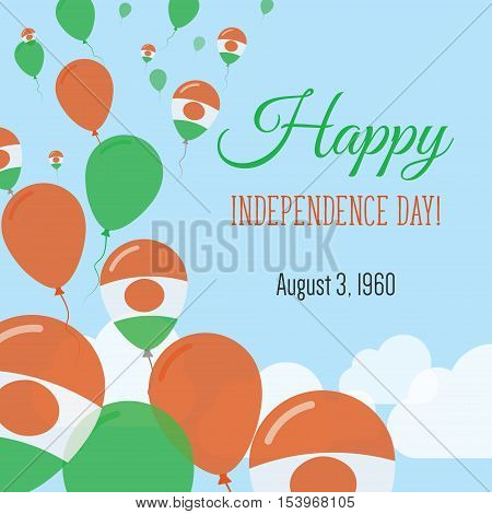 Independence Day Flat Greeting Card. Niger Independence Day. Nigerian Flag Balloons Patriotic Poster