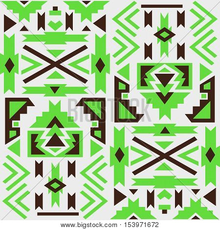 Seamless colorful aztec pattern. White background. Aztec geometric background.  Vector illustration. Used as greeting card or wedding invitation for your design.