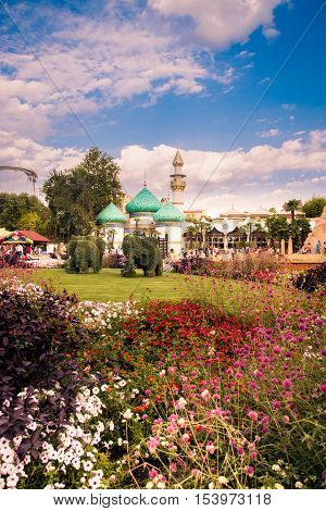 Castelnuovo Del Garda Italy - September 8 2015: Gardaland Theme Park in Castelnuovo Del Garda Italy. Three million people visit the park on a yearly basis.
