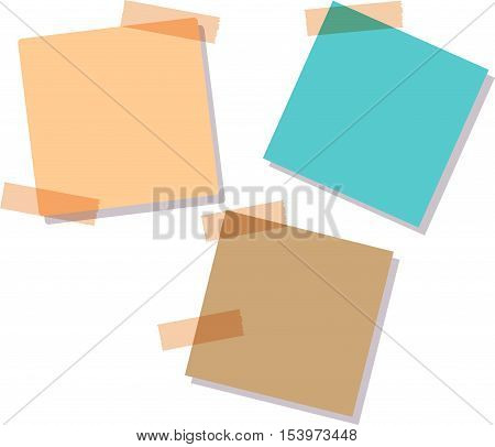 Illustration of a colored set of sticky notes. Illustration of a colored set of sticky notes. Sticky notes, isolated on white background,