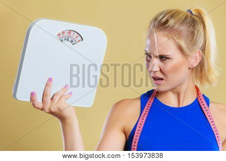 Angry Woman With Scale, Weight Loss Time For Slimming