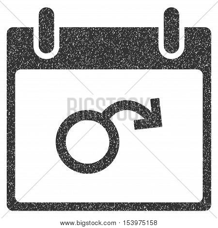 Impotence Calendar Day grainy textured icon for overlay watermark stamps. Flat symbol with scratched texture. Dotted glyph gray ink rubber seal stamp with grunge design on a white background.