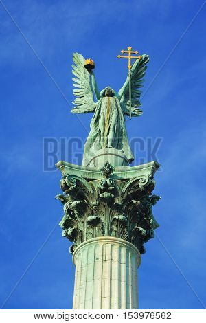 Statue of archangel Gabriel at the Heroes Square in Budapest Hungary