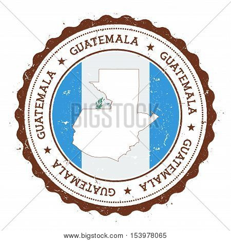 Guatemala Map And Flag In Vintage Rubber Stamp Of State Colours. Grungy Travel Stamp With Map And Fl
