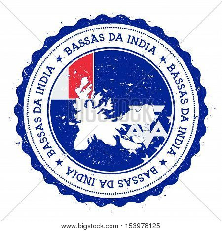 French Southern Territories Map And Flag In Vintage Rubber Stamp Of State Colours. Grungy Travel Sta