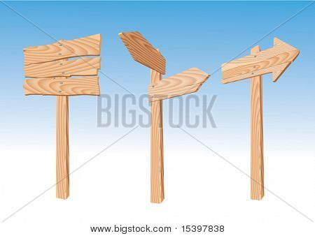 Wooden signs and arrows. Vector illustration