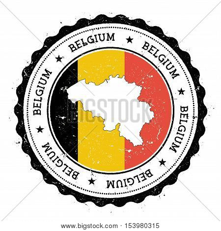 Belgium Map And Flag In Vintage Rubber Stamp Of State Colours. Grungy Travel Stamp With Map And Flag
