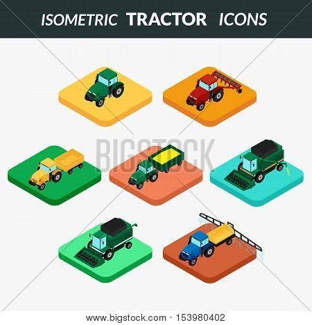 vector illustration. set of agricultural icons. Farm tractor with plow trailer sprayed with insecticides. harvester. 3D isometric